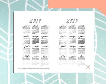 PRINTABLE 2017 Year at a Glance Calendar Stickers - SUNDAY START