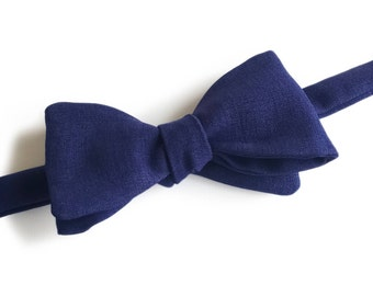 "Blue Self Tied Bow Tie ""Hauptmann"", Best Handmade Gift for Men, Weddings, Birthday, Valentines Day"