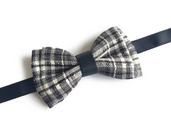 "Plaid Grey Pre Tied Bow Tie ""Cremer"", Best Handmade Gift for Men, Weddings, Birthday, Valentines Day"