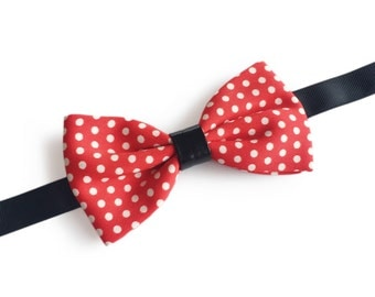 """Red Dotted Pre Tied Bow Tie """"Cajal"""", Best Handmade Gift for Men, Red Polka Dot, Weddings, Birthday, Valentines Day"""