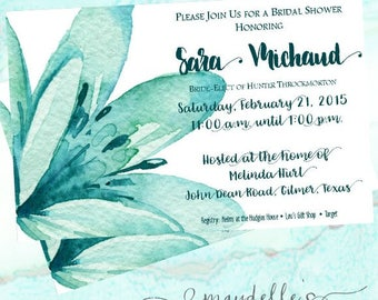 Bridal Shower Invitation - Turquoise Watercolor Floral - Wedding Shower Invitation - Custom Invitation - Printable Invitation