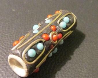"Handcrafted Kashmiri Tubular Bead with Metal Coiling and Mini Beads, 1"""