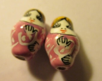 Hand Painted Pink Ceramic Matryoshka Russian Doll Beads, 23mm, Set of 2