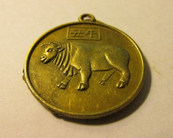 Bronze Metal Year of the Ox-Bull Chinese Zodiac Charm, 1""