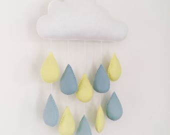 Felt rain cloud mobile/wall hanging with duck egg blue and pastel yellow rain drops