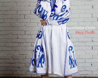 Ethno Authentic Dress Ukrainian Embroidery Vyshyvanka White Linen midi Style Bohemian Folk Custom made Tunic African print geometric print