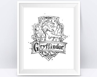 Gryffindor Crest Black and White Harry Potter Gifts Hogwarts Niffler illustration Gryffindor Wall Art Digital Download