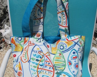 Large beach bag, vacation tote, grocery bag, yoga bag.  Great for beach, pool, shopping, & vacation.  Bright and colorful tropical fish!