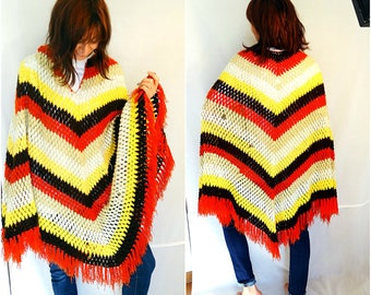 Winter cape poncho sweater winter ponchos women knitted shawl poncho wool sweater poncho crochet striped vintage 70s