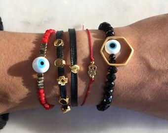 Evil Eye Jewelry, Evil Eye Bracelets, Evil Eye Charm, 2018 Bracelet, Cross Bracelet, Black and Gold Bracelet, Mix and Match Bracelets.