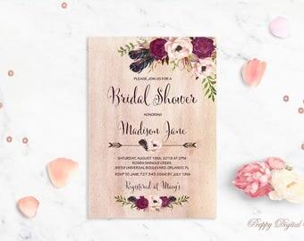 Floral Bridal Shower Invitation Printable Spring Bridal Shower Invite Bohemian Bridal Shower Blush Bridal Shower Boho Invite Digital File