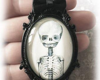 Child Skeleton Necklace, Glass Cameos Gothic Pendant, Alternative Jewelry, Fetal Skeleton, Gothic Gift, Gothic Jewelry, Handmade Jewellery
