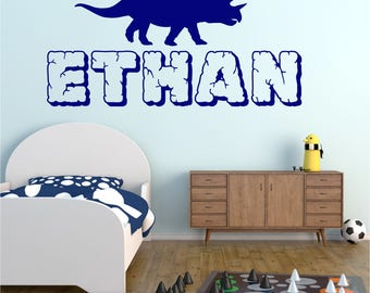 TRICERATOP Dinosaur Personalised ANY NAME Girls Boys Bedroom Childrens Vinyl Matt Wall Art Sticker Decal Transfer 20 colours Two Sizes