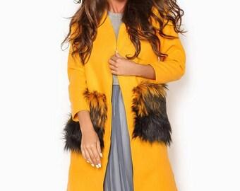 Mustard Cardigan fur pockets Full length coat Woman long coat Long winter coat Gray cardigan Woman Violet coat Long Trench coat winter