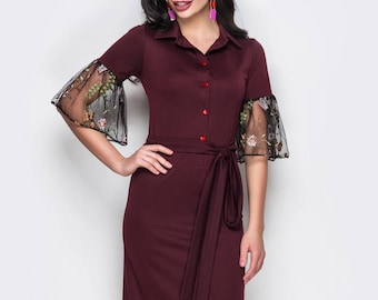 Elegant Jersey dress casual wear Midi dress short sleeve Office dress emerald Casual women's dress Knee royal blue dress Day dress marsala