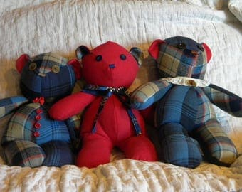 Memory bear. Made from your loved one's clothes. Handmade. Custom. OOAK. Remembrance. Keepsake Teddy Bear. Memorialize. Made to Order.