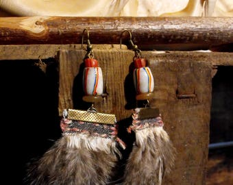 Feather earrings Native American Indian Spirit, ethnic earrings feathers