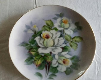 "vintage lefton 8"" porcelain plate SL2816 hand painted lavender blue w/ white rose - 1950 's collector wall hanging art decor kitchen dish"