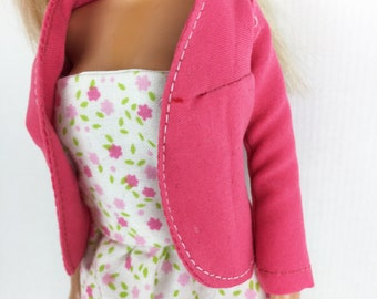 "Barbie strapless dress with jacket for 12 ""dolls. Strapless neckline dress and jacket for Barbie.  Reversible Top Gift Lined"