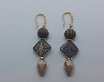 0220-Wood and Glass Earrings