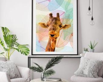 Giraffe print,  giraffe poster, giraffe art, giraffe painting, giraffe  wall art, giraffe picture, nursery art, giraffe canvas, animal print