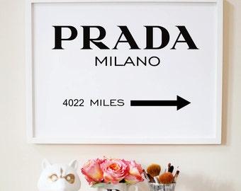Milano sign poster. Fashion poster. Fashion direction printable  artwork. Black and white. Minimalism, Gossip girl. Scandinavian Instant