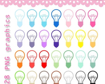 Collection Lightbulb Clipart Rainbow Set. 28 PNG graphics set for planner stickers, scraps. Personal or commercial use ok.
