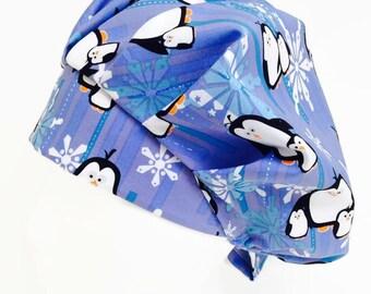 Snowflake Penguin Bouffant Scrub Hat, Scrub Cap, OR Hats, Scrub Hats for Women, ORHatsByBonita, Surgical Scrub Hat, Surgical Scrub Cap