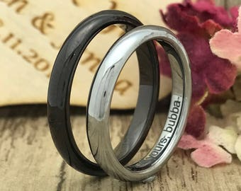 3mm His and Hers Tungsten Ring, Personalize Engrave Tungsten Wedding Ring, SkinnyWedding Ring, Couples Ring set, Classic Dome,