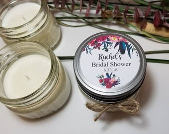 12 - 4 oz Bridal Shower Favors - Personalized Candle - Bridal Shower Candles - Gifts for Guests - Soy Candle Favors - Custom Wedding Favors