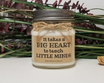Gift for Teacher - 8oz Soy Candles Handmade - Mason Jar Candles - Personalized Gifts - Teacher Appreciation - Teacher Gift - Thank you Gift