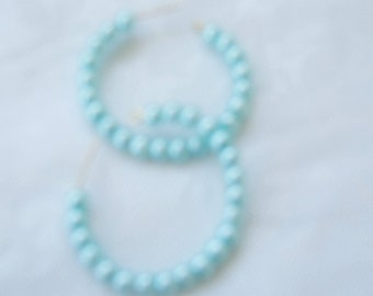 Aqua Pearl Circle Hoop Earrings