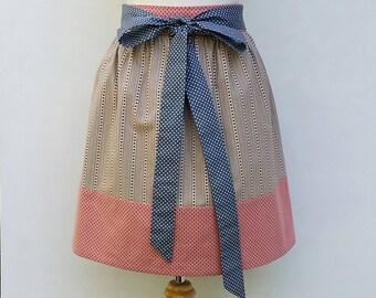 Women's half apron, pink border and polka dot ties, Med to Large, waist apron, kitchen apron, baking gift
