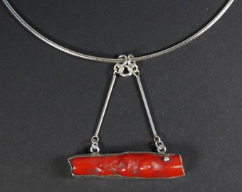 Old Branch Coral Pendant on Sterling Silver Cable Chain