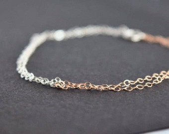 Minimalist rose gold and silver bracelet. Simple and delicate half silver and half rose gold bracelet. Chain bracelet. Pease jewelry