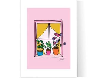 Pink Window Flowers Illustration / Floral Poster / Flowers Window / Pink House / Floral Art / Printable Art / Instant Download / 2JPEG Files