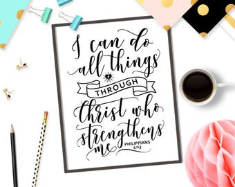 Bible verse svg file Christian SVG Cricut design I can do all things through Christ who strengthens me svg cutting file Philippians 4:13