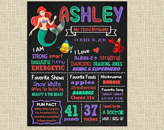 The Little Mermaid Birthday Chalkboard Poster - Disney Princess Ariel Wall Art design - Birthday Party Poster Sign - Any Age