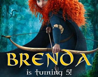 Disney Brave Chalkboard Invitation - Disney Princess Merida Birthday Party Invitation - Birthday Party Invite - Digital - Customized