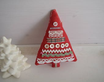 Fabric Christmas tree laces, buttons, lace Christmas ornament