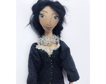 BLUEBELL Collectible Handmade Fabric Art Doll OOAK Textile Soft Sculpture