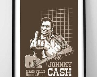 Johnny Cash Print 40x30cm. Printed on high quality paper