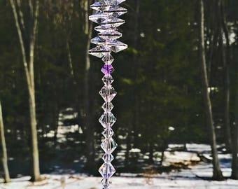 "Peace 20 mm Crystal Ball Suncatcher, Swarovski Crystal, Window Crystal, Rainbow Maker, Hanging Crystal, Feng Shui, Prism, ""Peace"""
