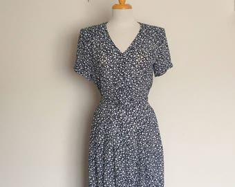 1980s does 40s Mark Shaw Blue and White Day Dress Vintage