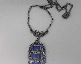 Royal Blue Silver Plated Art Nouveau Vintage Necklace