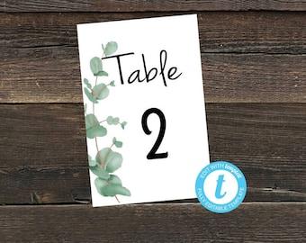 Table numbers, eucalyptus, digital download, Templett #10-Number