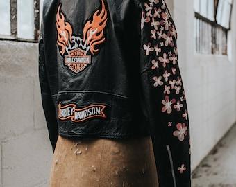 Hand-Painted Vintage Leather Harley Davidson Jacket