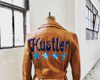 "Hand-Painted Vintage Leather Trench -- ""HUSTLER"""