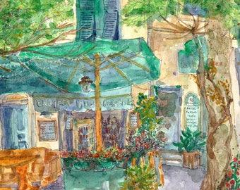 Wine Shop in Monterosso, Watercolor Art Print A4, Cinque Terre Italy, Home Decor