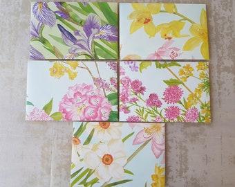 5x Vintage Floral Envelopes